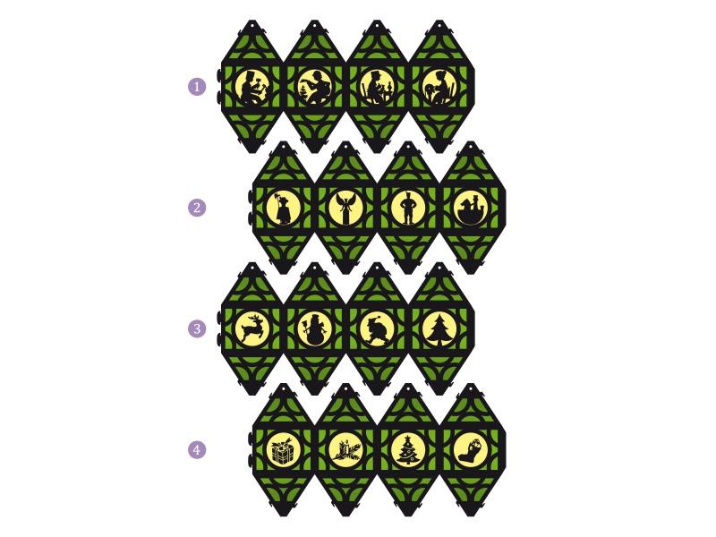 Kleinesbild - Weihnachtliche Papierlaterne — 07.hellgrün