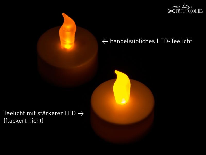 Kleinesbild - LED-Teelicht mit heller gelb-orangener Flamme, flackert nicht