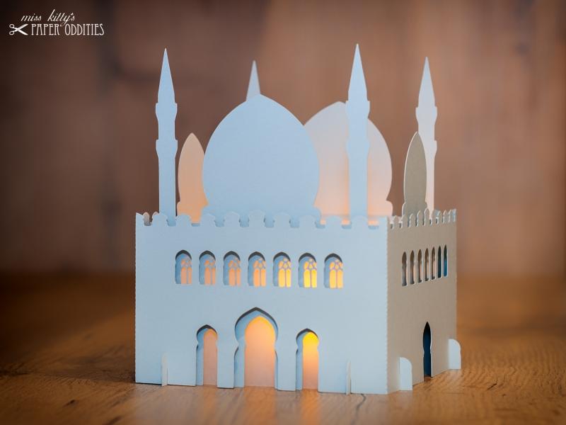 Kleinesbild - Windlicht-Bastelset »Moschee« 3-teilig (lichtgrau), zum Beleuchten mit einem (LED)-Teelicht