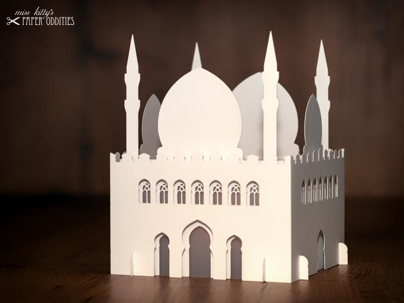 Kleinesbild - Windlicht-Bastelset »Moschee« 3-teilig (perlweiß), zum Beleuchten mit einem (LED)-Teelicht