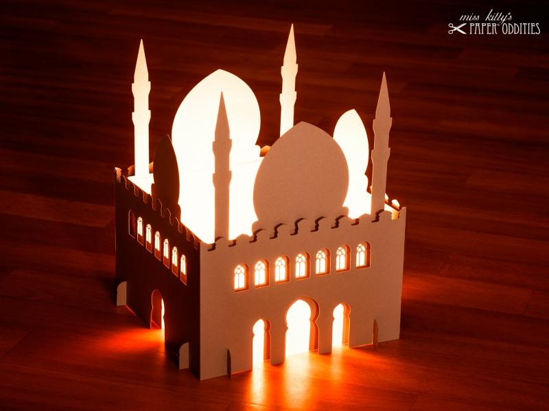 Kleinesbild - Windlicht-Bastelset »Moschee« 3-teilig XL-Version (lichtgrau), zum Beleuchten mit (LED)-Teelichtern oder Kerzen