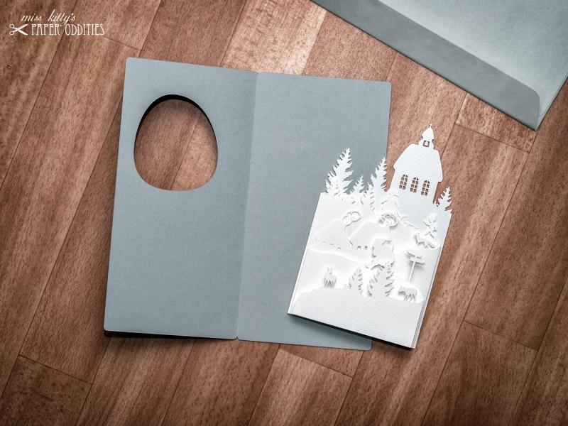 Kleinesbild - Diorama-Weihnachtskarte »Christnacht« mit herausnehmbarer Winterszene
