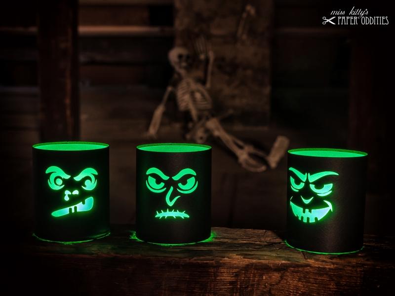 Kleinesbild - Windlicht-Bastelbogen-Set »SourKrautlings I« zum Beleuchten mit (LED)-Teelichtern