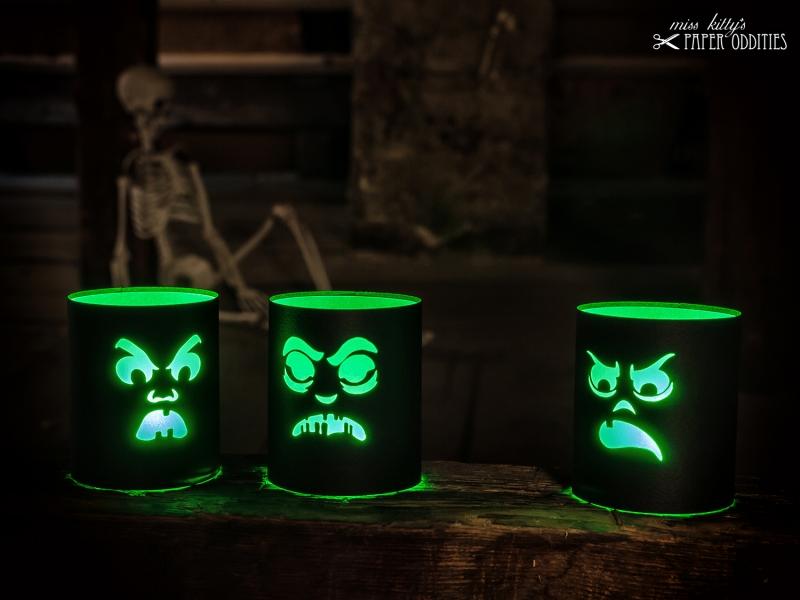 Kleinesbild - Windlicht-Bastelbogen-Set »SourKrautlings II« zum Beleuchten mit (LED)-Teelichtern
