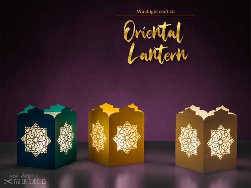 Kleinesbild - Windlicht-Bastelset »Orientalische Laterne« (türkis), zum Beleuchten mit (LED)-Teelicht oder Kerze