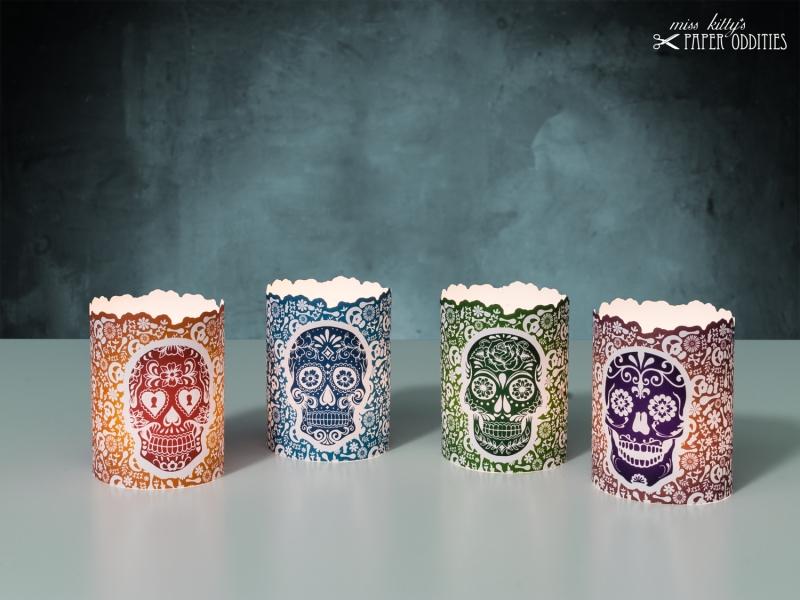 Kleinesbild - Windlicht-Set »Día de los Muertos« (farbig) zum Basteln und  Beleuchten mit (LED)-Teelichtern