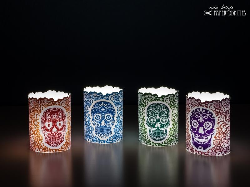 - Windlicht-Set »Día de los Muertos« (farbig) zum Basteln und  Beleuchten mit (LED)-Teelichtern - Windlicht-Set »Día de los Muertos« (farbig) zum Basteln und  Beleuchten mit (LED)-Teelichtern