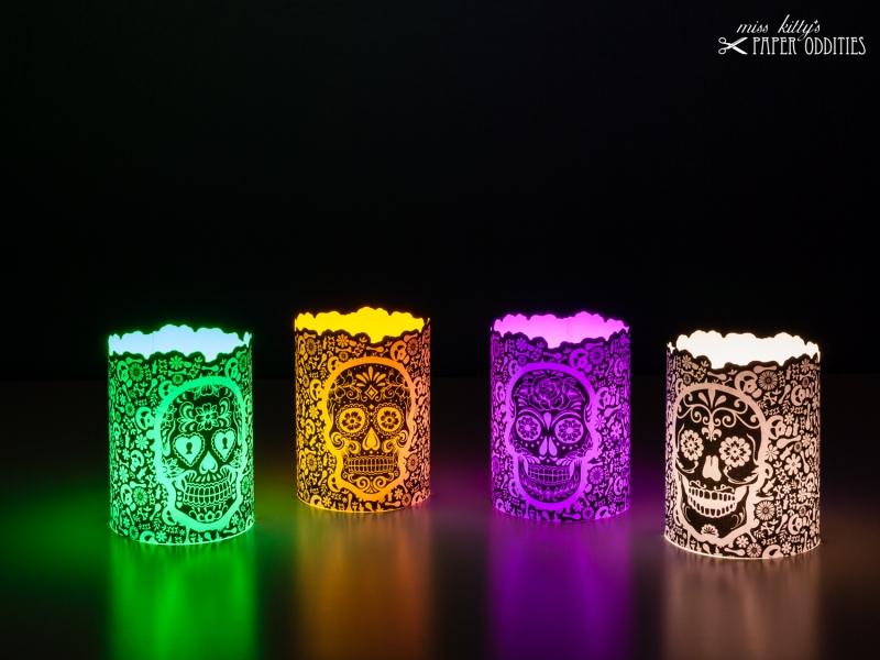 Kleinesbild - Windlicht-Set »Día de los Muertos« (schwarz) zum Basteln und  Beleuchten mit (LED)-Teelichtern