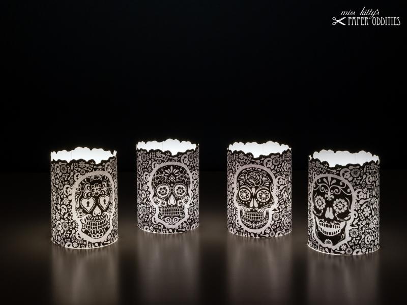 - Windlicht-Set »Día de los Muertos« (schwarz) zum Basteln und  Beleuchten mit (LED)-Teelichtern - Windlicht-Set »Día de los Muertos« (schwarz) zum Basteln und  Beleuchten mit (LED)-Teelichtern