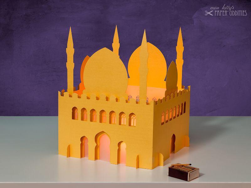 Kleinesbild - Windlicht-Bastelset »Moschee« 3-teilig XL-Version (gold), zum Beleuchten mit (LED)-Teelichtern oder Kerzen
