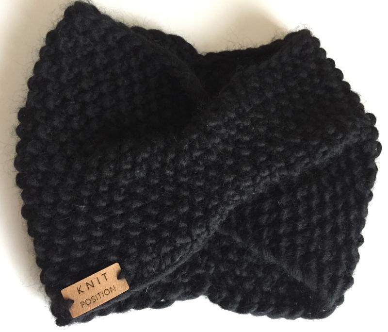 - BLACK SWAN - gestricktes Stirnband aus 100% peruanischer Schafswolle - BLACK SWAN - gestricktes Stirnband aus 100% peruanischer Schafswolle
