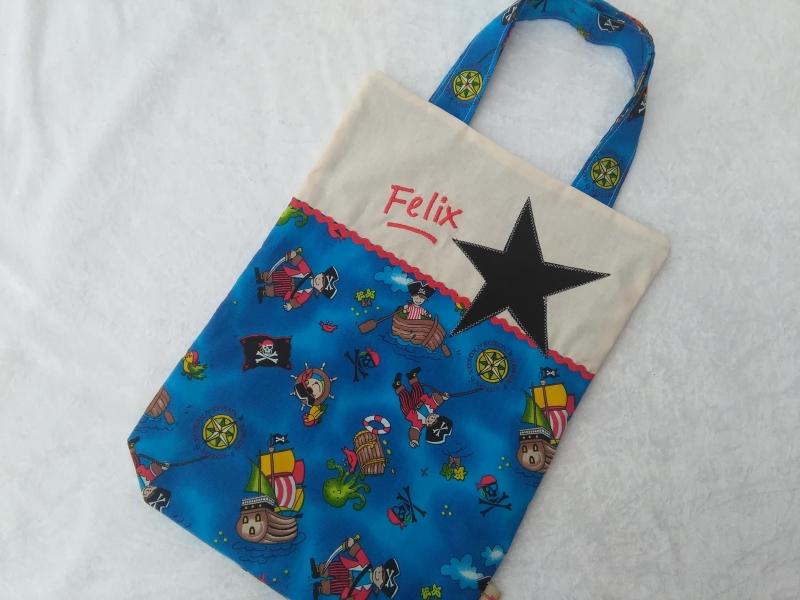 - Kita-Tasche mit Namen, Kindergarten Beutel  kleiner Pirat - Kita-Tasche mit Namen, Kindergarten Beutel  kleiner Pirat