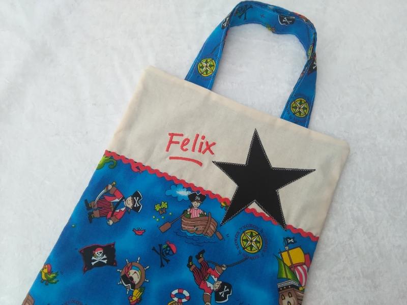 Kleinesbild - Kita-Tasche mit Namen, Kindergarten Beutel  kleiner Pirat
