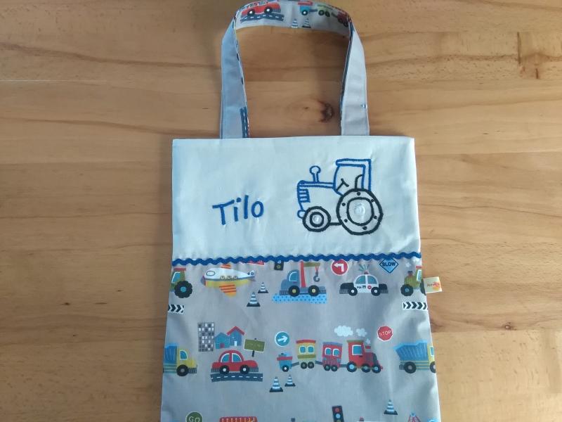 Kleinesbild - Kita-Tasche mit Namen, Kindergarten Beutel  ,viele tolle Autos, grau