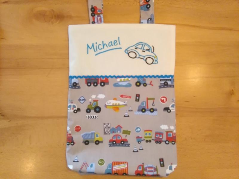 - Kita-Tasche mit Namen, Kindergarten Beutel  ,viele tolle Autos, grau - Kita-Tasche mit Namen, Kindergarten Beutel  ,viele tolle Autos, grau