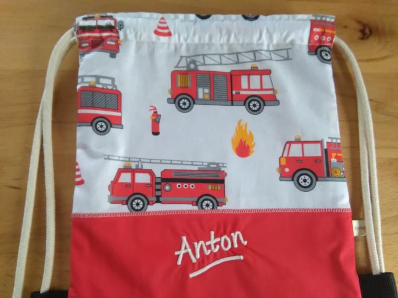 Kleinesbild - Turnbeutel für Kinder und Zwerge, Motiv:  Feuerwehr Autos