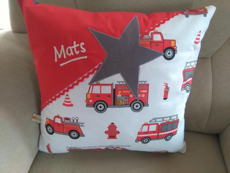 Namenskissen Feuerwehr, Individueller Kissen Bezug für Kinder, Handmade