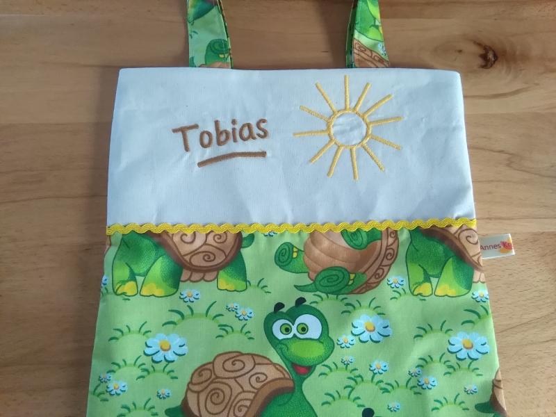 Kleinesbild - Kita-Tasche mit Namen, Kindergarten Beutel,   lustige Schildkröten