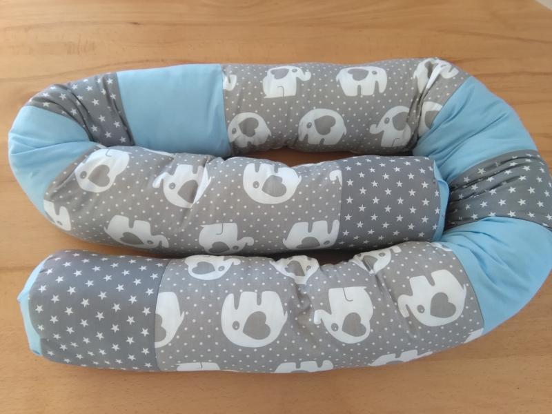 - Bettschlange, Nestchen, Lagerungskissen, Motiv : Elefanten mit Sterne in grau - Bettschlange, Nestchen, Lagerungskissen, Motiv : Elefanten mit Sterne in grau