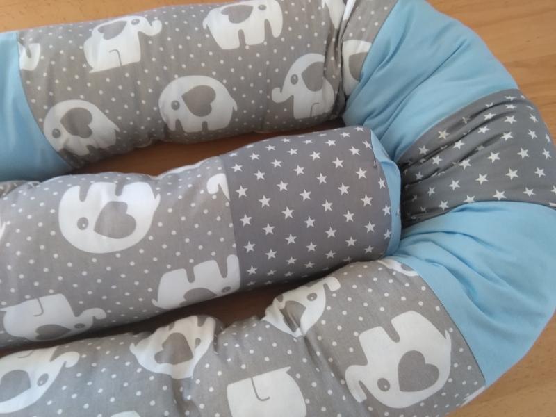 Kleinesbild - Bettschlange, Nestchen, Lagerungskissen, Motiv : Elefanten mit Sterne in grau