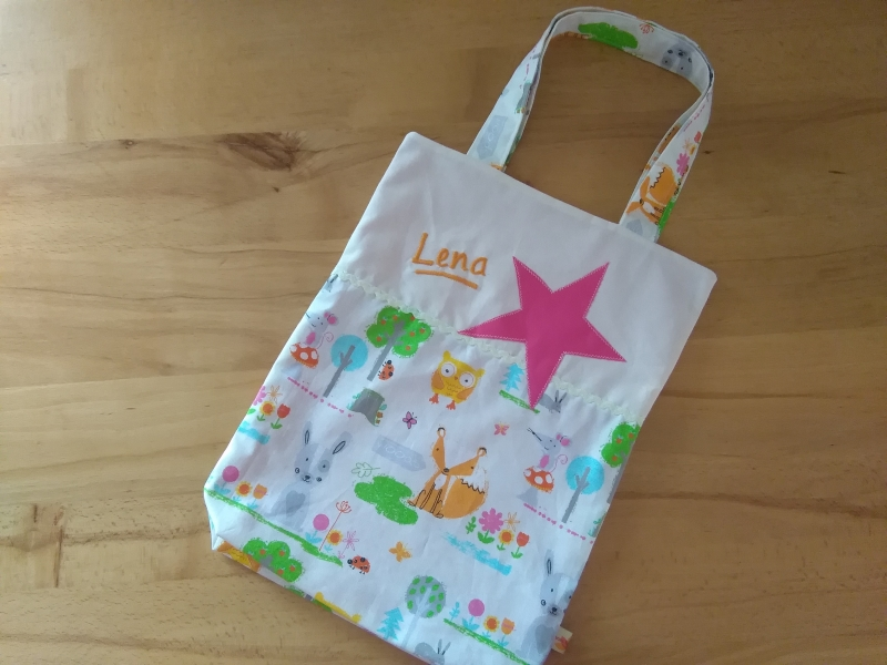 - Kita-Tasche mit Namen, Kindergarten Beutel  , Hase, Fuchs und Mäuschen - Kita-Tasche mit Namen, Kindergarten Beutel  , Hase, Fuchs und Mäuschen