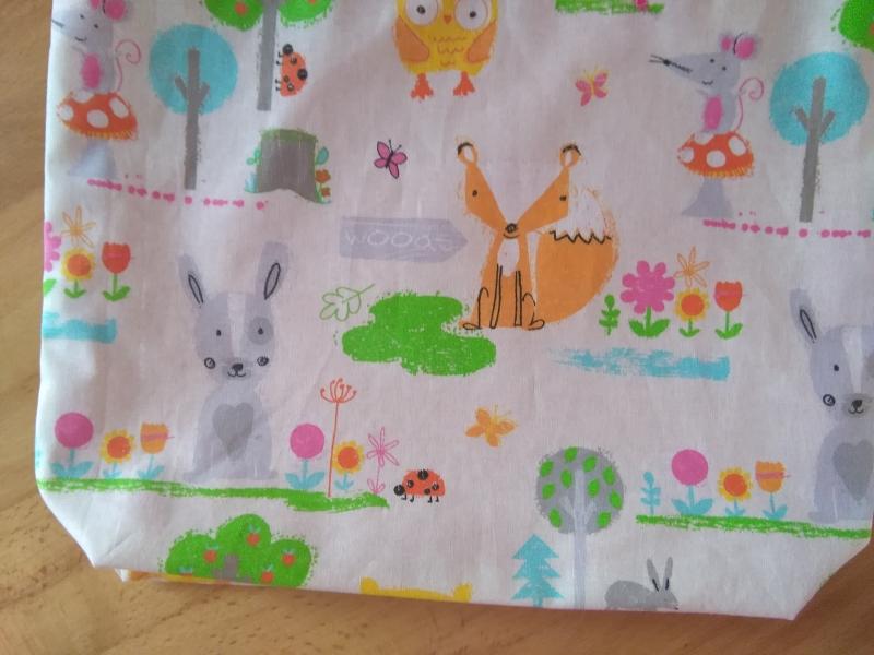 Kleinesbild - Kita-Tasche mit Namen, Kindergarten Beutel  , Hase, Fuchs und Mäuschen