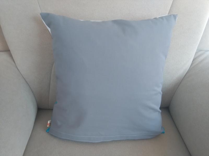 Kleinesbild - Namenskissen,   Punkte türkis,   individueller Kissen Bezug personalisiert
