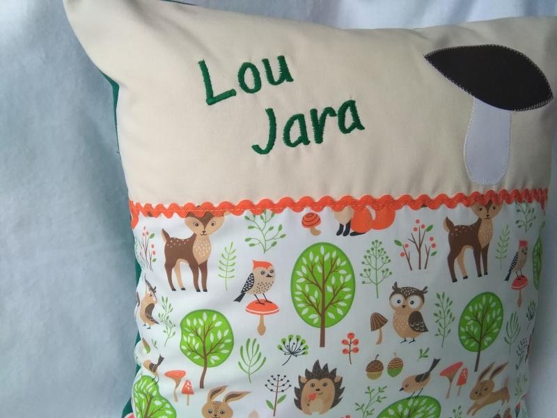 Kleinesbild - Namenskissen  Waldtiere,   Individueller Kissen Bezug für Kinder, Handmade