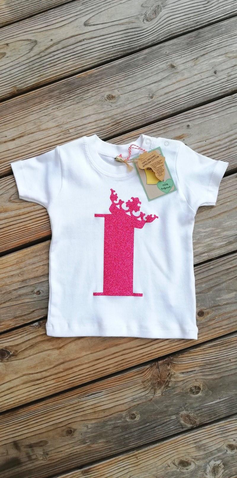 Kleinesbild - Geburtstagsshirt 4♡Shirt vierter Geburtstag♡Geburtstagsshirt Mädchen mit Zahl und Krönchen☆Größe und Farbe individualisierbar☆1 bis 5 Jahre☆Bio☆Shirt mit Zahl♡Name möglich
