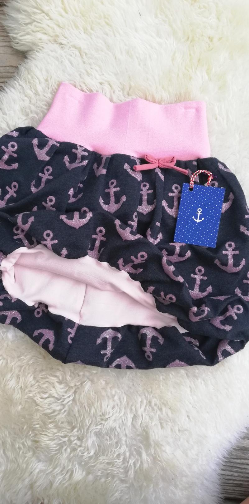 Kleinesbild - Ballonrock Anker maritim Gr. 110/116♡handgenähter Rock für Mädchen rosa blau mit Glitzer♡bequem und chic