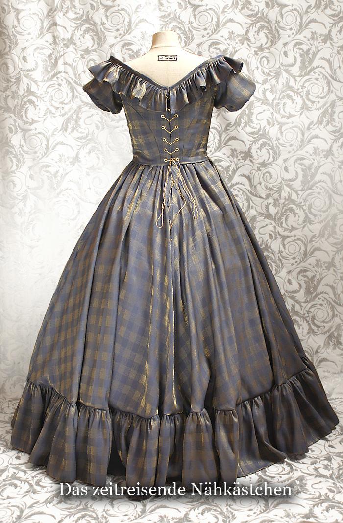 Kleinesbild - Victorianisches Ballkleid, Krinolinen - Kleid, Biedermeier, staubblau-gold mit Rückenschnürung
