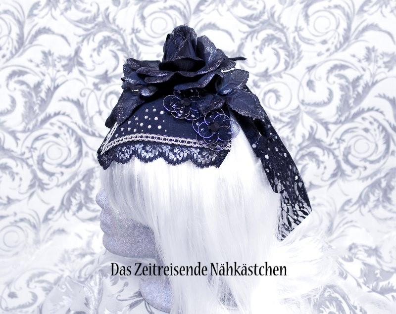 Kleinesbild - Fascinator, schwarz-silber mit Glitzersteinen, Gothic, Steampunk