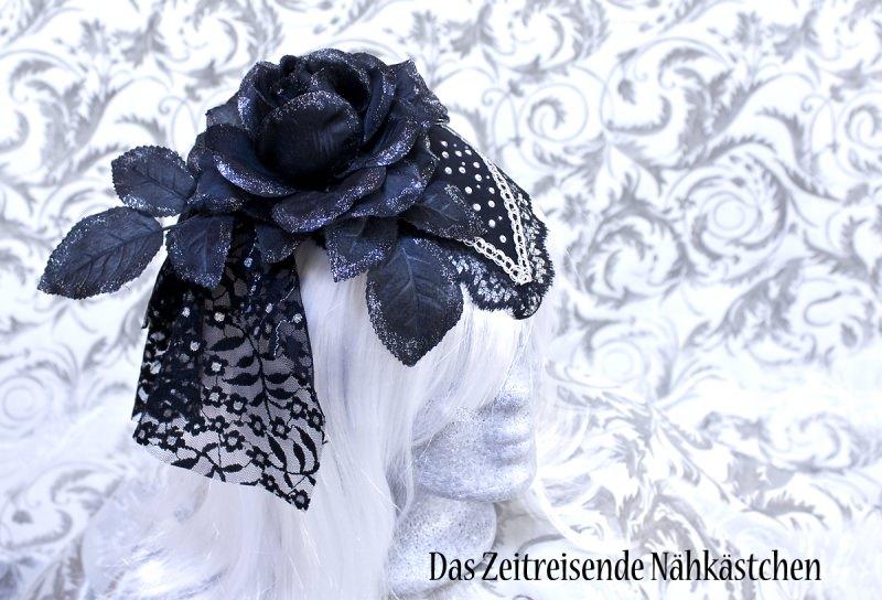 - Fascinator, schwarz-silber mit Glitzersteinen, Gothic, Steampunk - Fascinator, schwarz-silber mit Glitzersteinen, Gothic, Steampunk