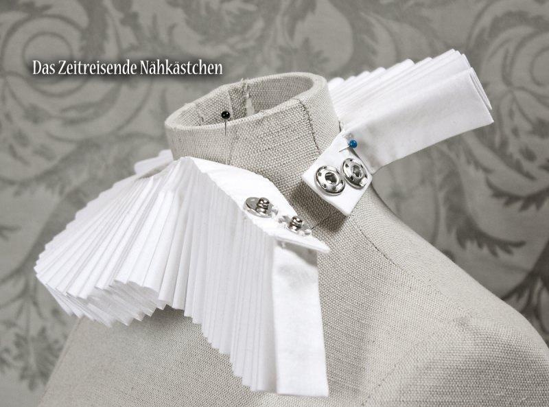 Kleinesbild - Mühlsteinkragen, Gran Gola, weiße Baumwolle, Maßanfertigung