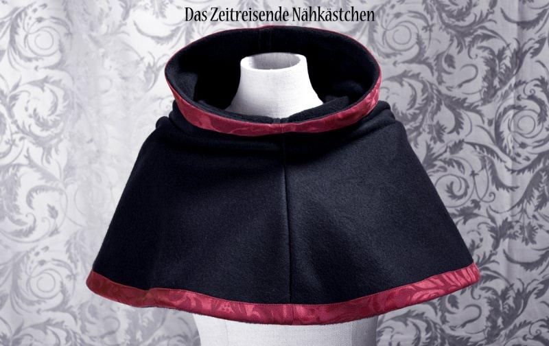 Kleinesbild - Mittelalterliche Gugel aus Fleece und Jaquard, schwarz, Chaperon, Schal (Kopie id: 50194)