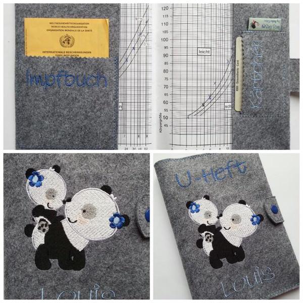 Kleinesbild -  ♥♥ U-Hefthülle ♥♥mit Stickerei Pandabär Mama und Baby