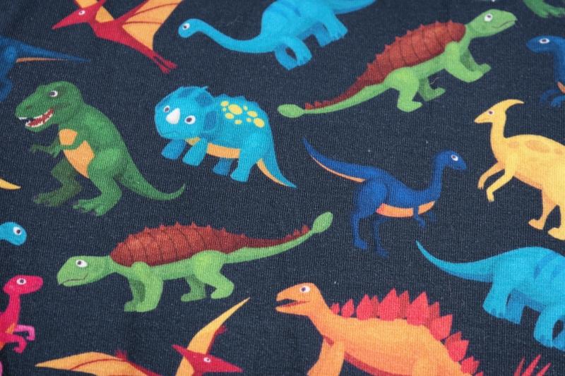 Kleinesbild -  (19,80Euro/m) French terry Dinosaurier, dunkelblau