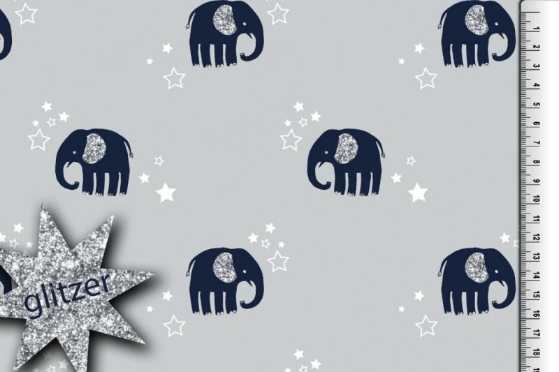 - 12,50 Euro/m Jersey Elefant, garu - 12,50 Euro/m Jersey Elefant, garu