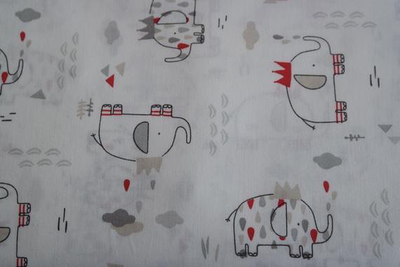 - 12,90 Euro/m Baumwolle , Elefanten, wollweiß - 12,90 Euro/m Baumwolle , Elefanten, wollweiß