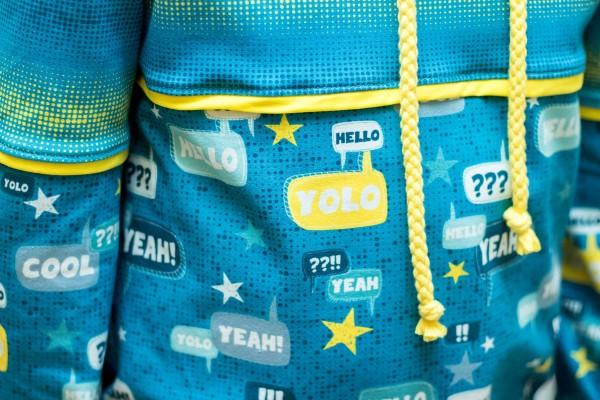 Kleinesbild - 16,90 Euro/m Jersey Yolo, Sprechblasen, petrol Blaubeerstern