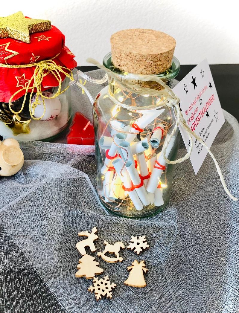 Kleinesbild - Adventskalender, Sprüchekalender, Version 2020, Dekoglas mit Beleuchtung, Schokolade oder Streudeko