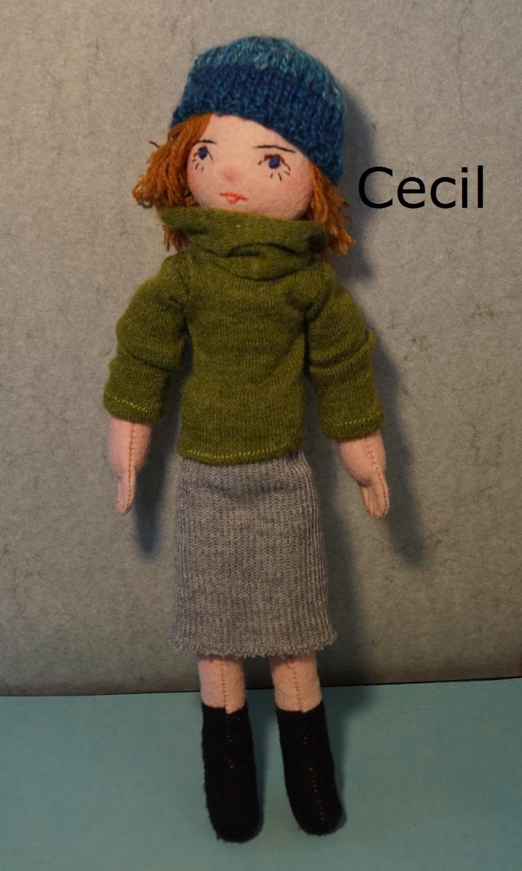 """Kleinesbild - Die Knöpfe """"CECIL(Grün), Deco-Stoffpuppe, Künstler-Puppe, 32 cm, Geschenkpuppe"""