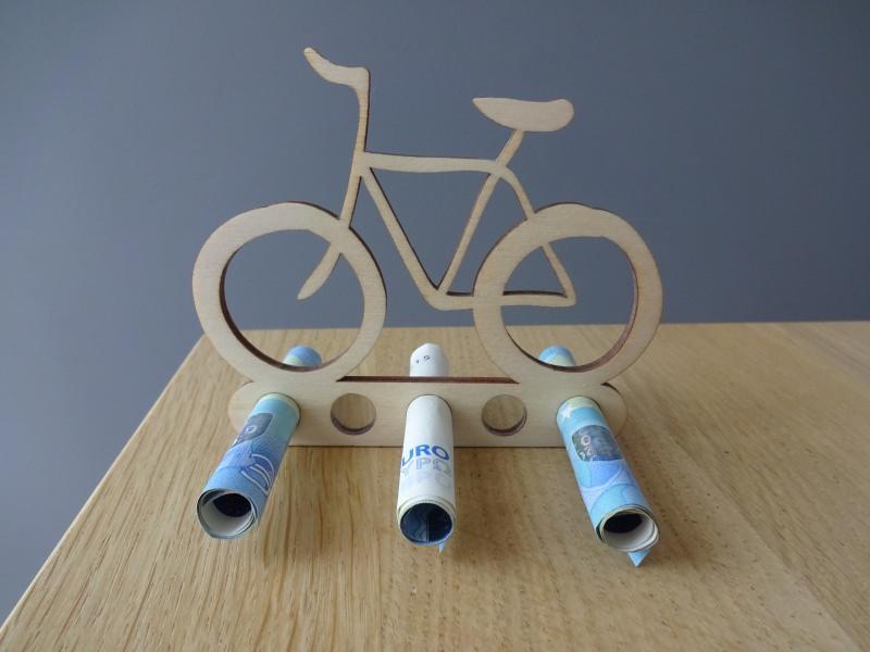 Anlasse Geldgeschenk Geldhalter Fahrrad Holz