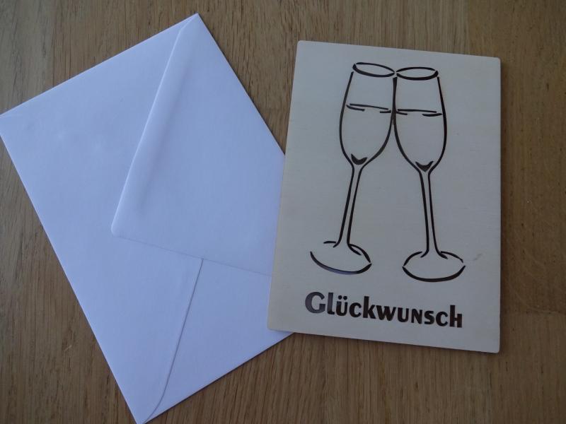 - Glückwunschkarte aus Holz Sektgläser Glückwunsch Prost anstoßen - Glückwunschkarte aus Holz Sektgläser Glückwunsch Prost anstoßen
