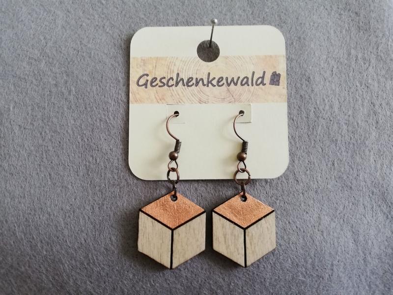- Holz-Ohrringe geometrisch Sechseck, kupferfarben - Holz-Ohrringe geometrisch Sechseck, kupferfarben
