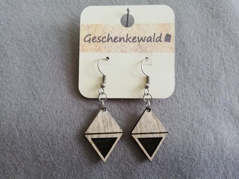 - Holz-Ohrringe geometrisch - Karo mit Gravur Dreieck, Holzschmuck - Holz-Ohrringe geometrisch - Karo mit Gravur Dreieck, Holzschmuck
