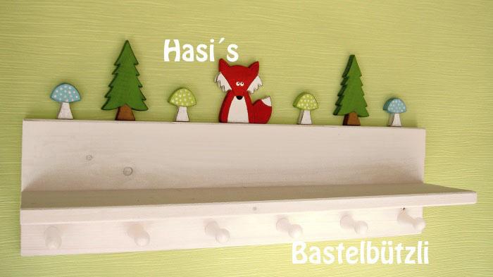 Kleinesbild - Kinder-Garderobe weiß ♡ WALD ♡ mit Ablage, aus Holz, Hakenleiste