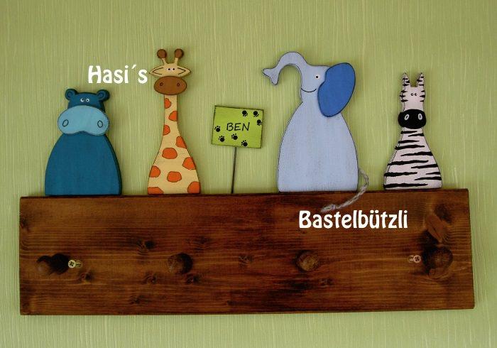 - Kinder-Garderobe braun ♡ WILDTIERE ♡ aus Holz, Hakenleiste - Kinder-Garderobe braun ♡ WILDTIERE ♡ aus Holz, Hakenleiste