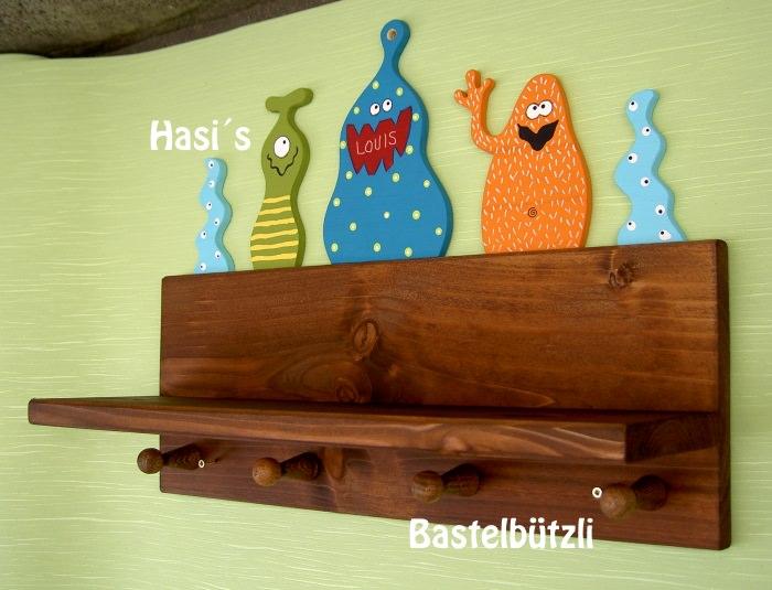Kleinesbild - Kinder-Garderobe braun ♡ MONSTER ♡ mit Ablage, aus Holz