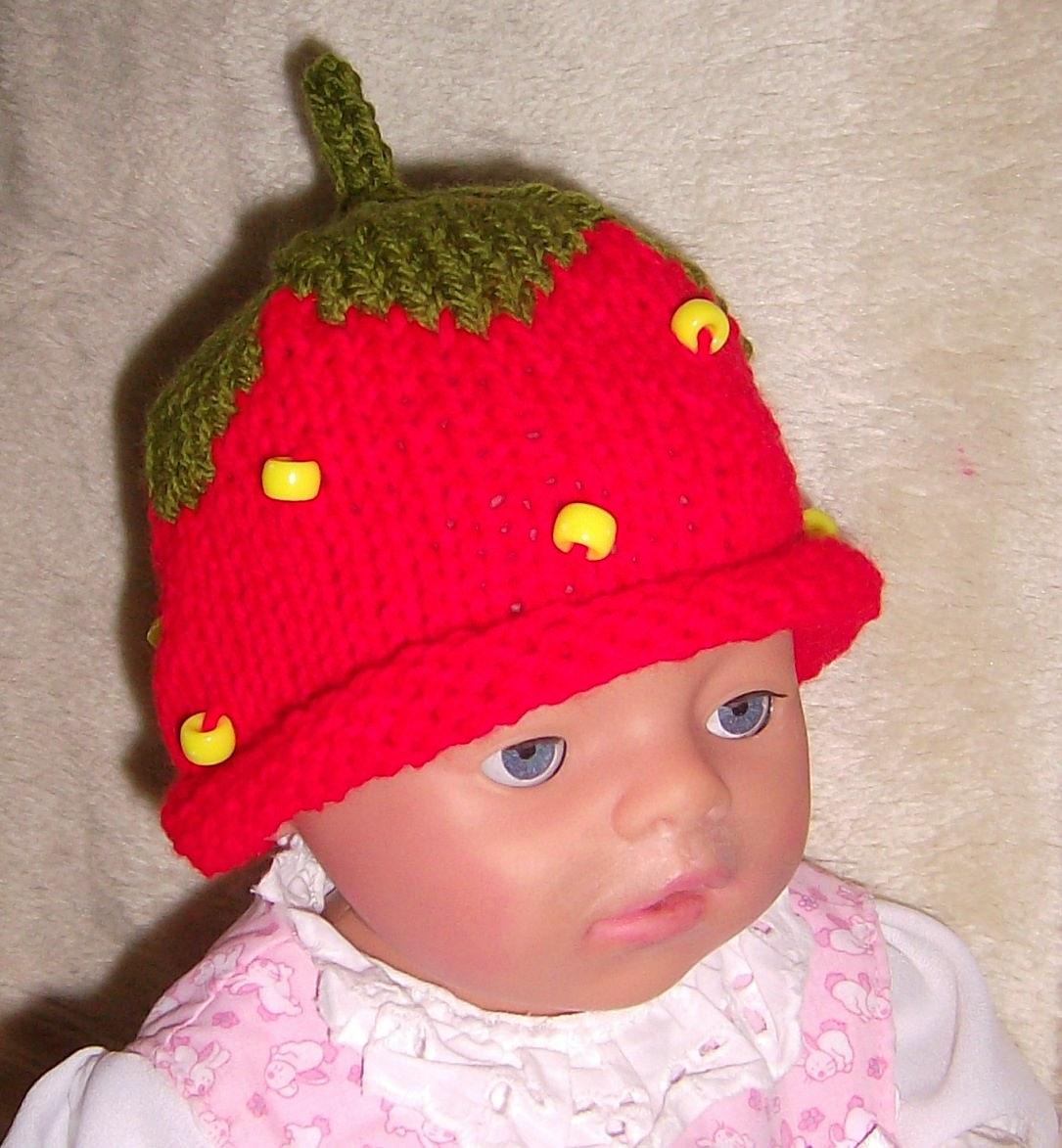 Kleinesbild - Erdbeermütze Baby Kinder Reborn´s Puppen (38-42)